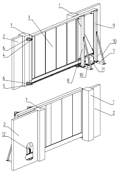 1 - столб; 2 - забор; 3 - полотно (наполнение); 4, 5 - улавливатели; 6 - кронштейн крепления; 7 - опорная рама; 8 - столб удерживающий с роликами; 9 - дополнительный столб с роликами; 10 - раскос; 11 - электродвигатель; 12 - засов